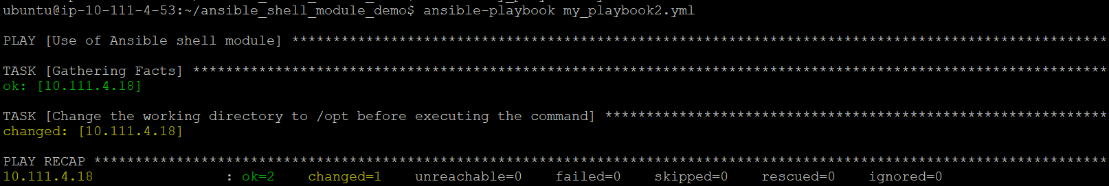 Output of ansible shell module command with chdir parameter