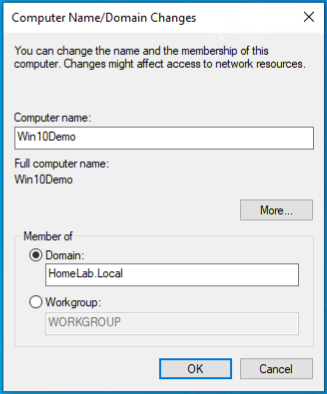 Computer Name/Domain Name Change Dialog box
