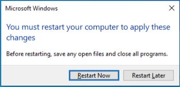 Local computer Restart prompt