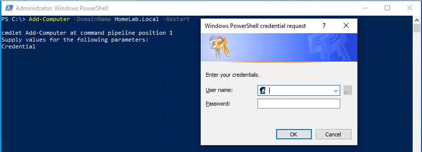 Add-Computer cmdlet credentials prompt