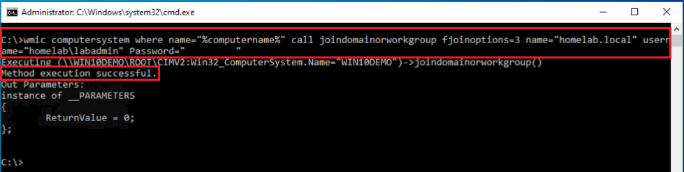 WMIC command output