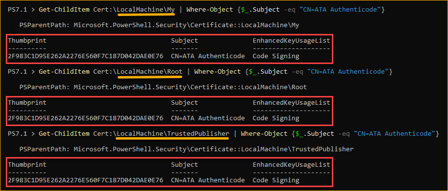 Confirming the creation of the new self-signed certificate