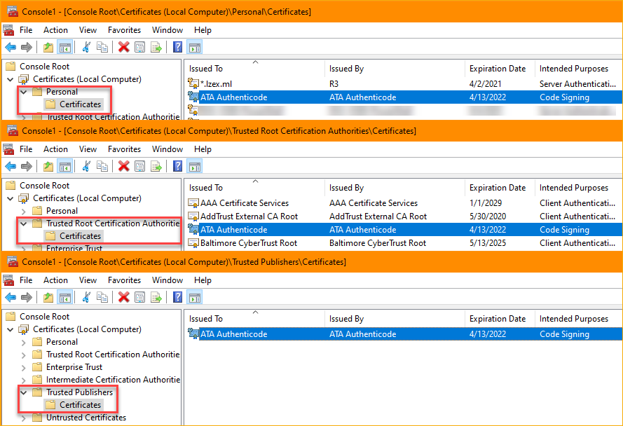 Viewing certificates in the Microsoft Management Console (MMC)