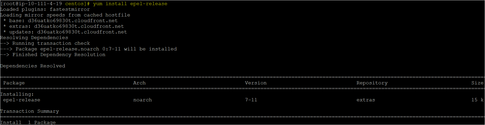 Installing the epel-release package using the yum command