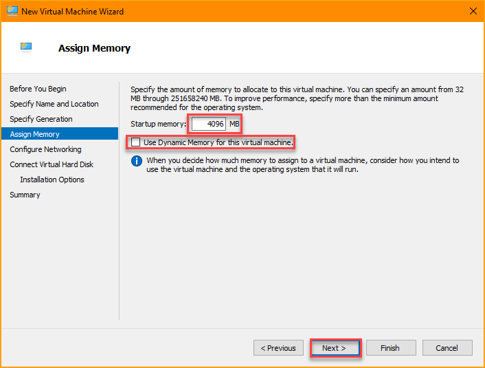 Assigning memory size to the new VM