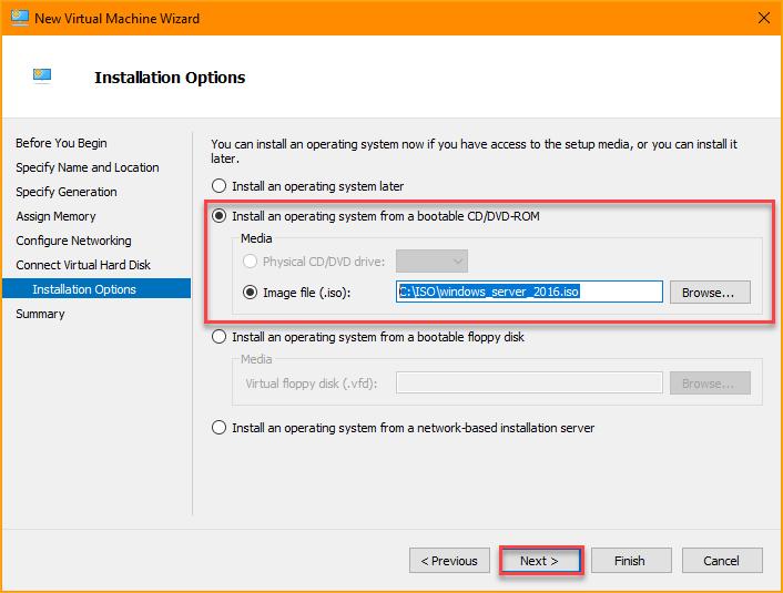 Choosing the OS installation option