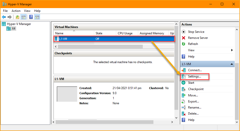 Opening the VM settings