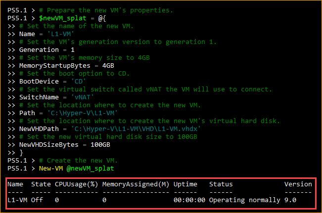 Creating a VM using PowerShell
