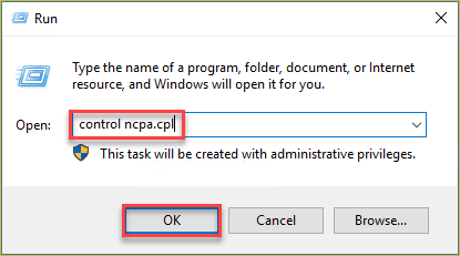 Opening the Network Connection Control Panel applet