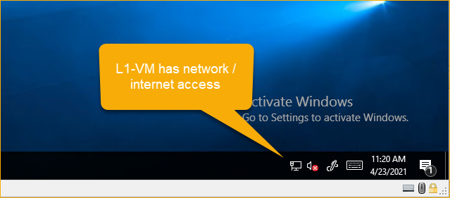 VM has network and internet access