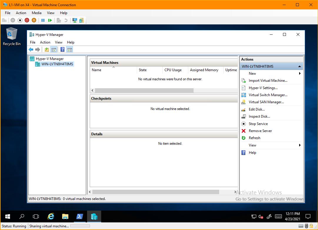 The Hyper-V Manager window inside L1-VM