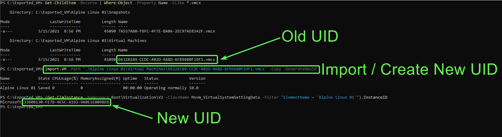 Showing previous UID prior to import vs. new UID created with Copy and GenerateNewID parameters.