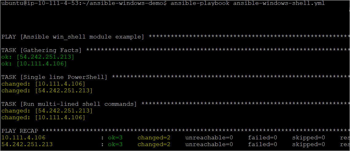 ansible-playbook ansible-windows-shell.yml