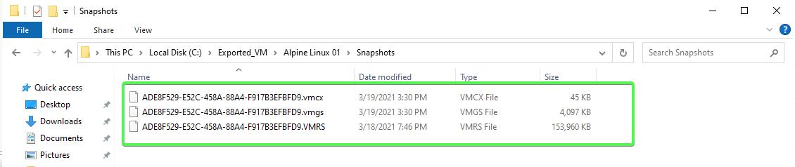Snapshots folder example