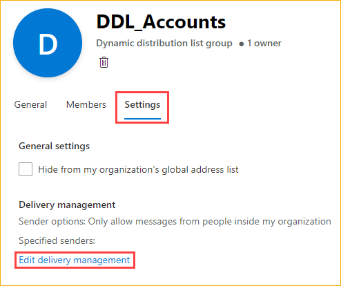 Opening the delivery management editor