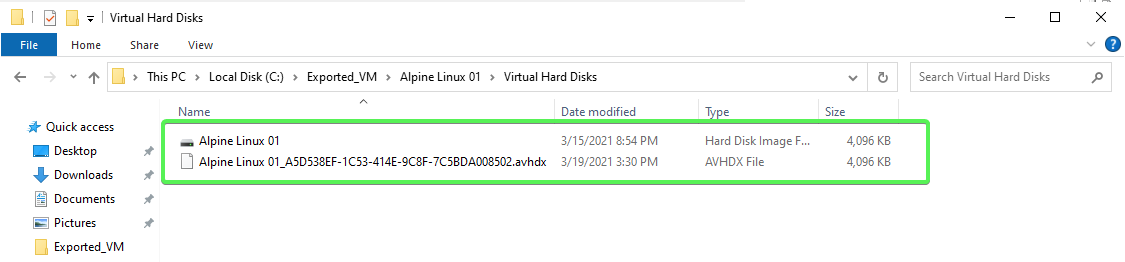 Virtual Hard Disks example