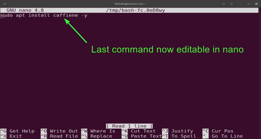 Editing the last command with nano.