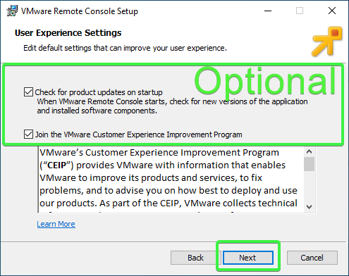 Enabling or disabling user experience settings
