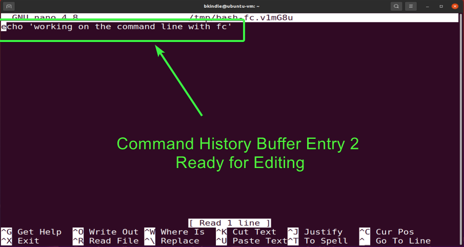 Editing a past command entry in the history buffer