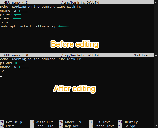 Editing command history entries 2 through 7 at once