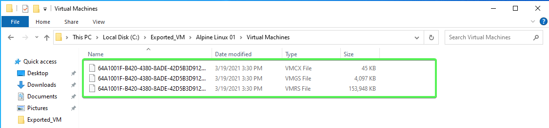 Virtual Machines configuration files example
