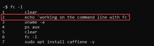 Listing the command history and finding the command number to execute