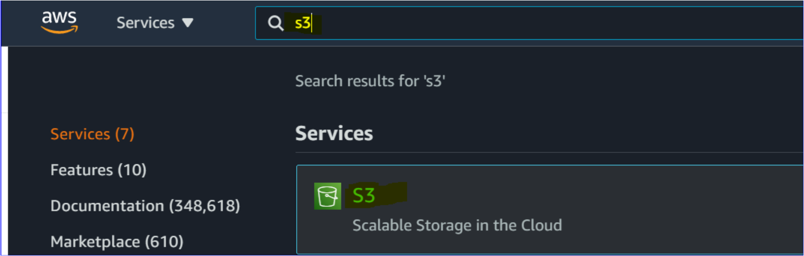 Searching for the S3 service in the AWS Management Console