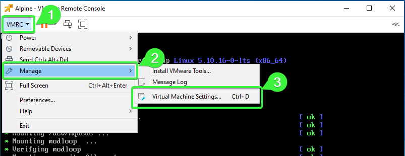 Opening the Virtual Machine Settings window