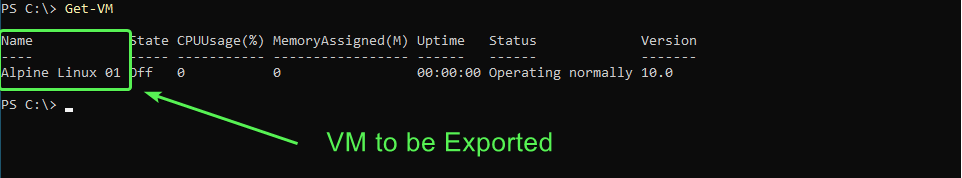 Virtual machine name to be used in Export-VM command
