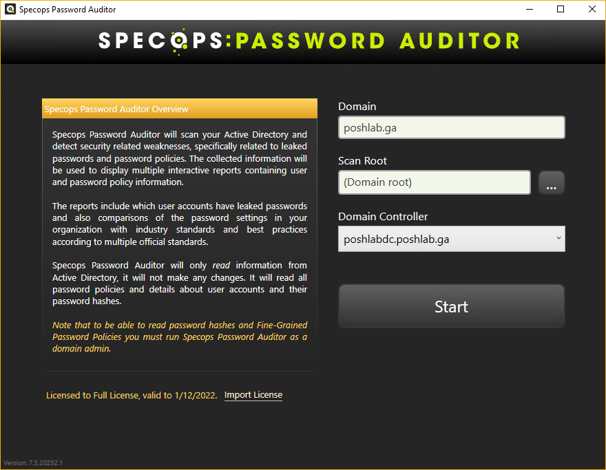 SpecOps Password Auditor Start Page