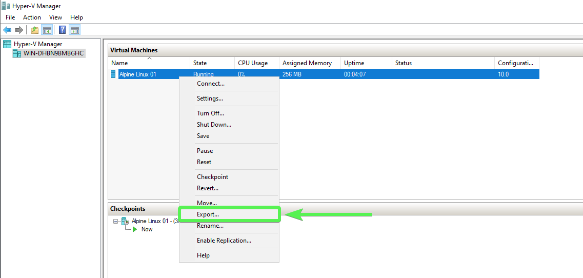 Exporting VM using Hyper-V Manager The VM can be offline or running prior to exporting.