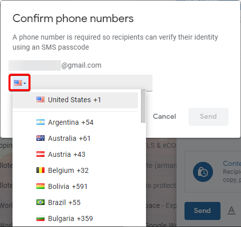 Selecting Corresponding Country of Recipient's Phone Number