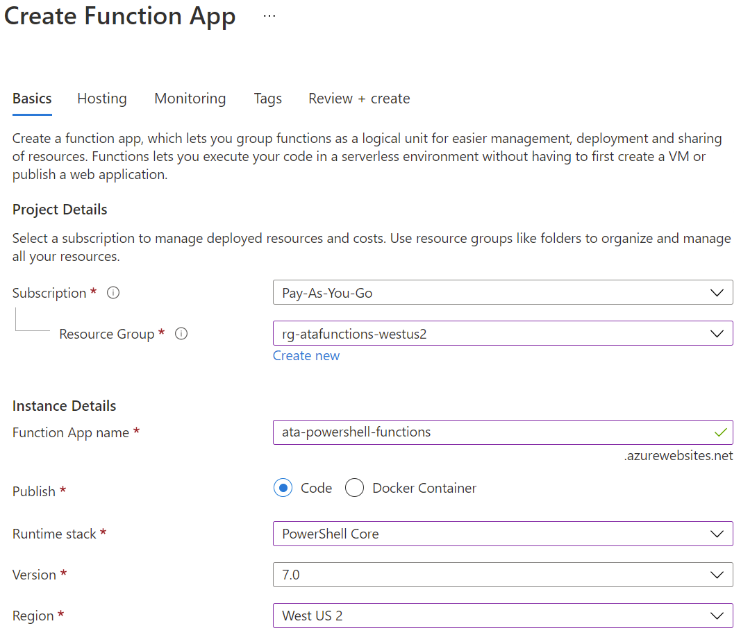Entering Basic information for deploying a Function App