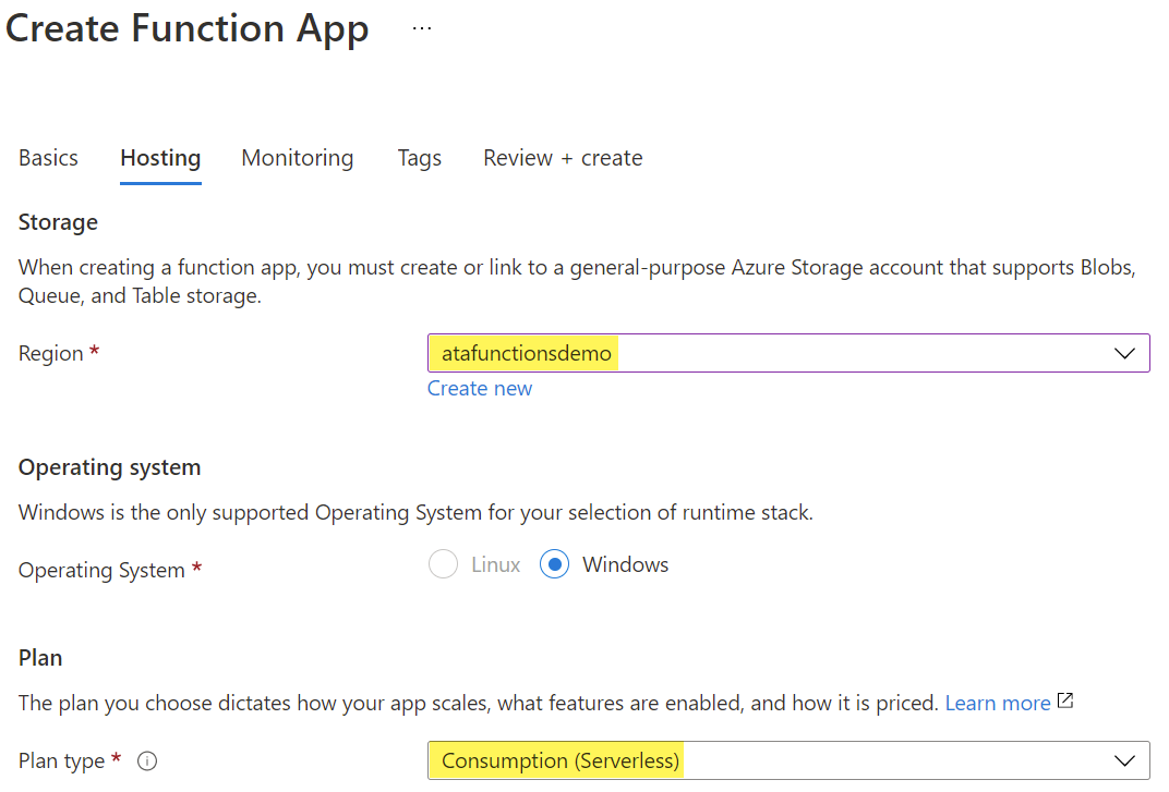 Select Hosting options for deploying a Function App