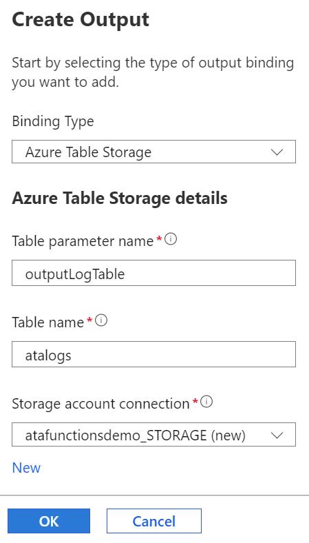 Creating Azure Table Storage output binding