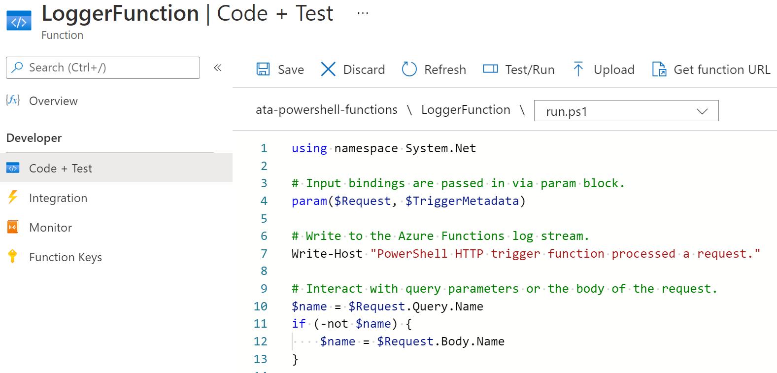 Viewing default HTTP Trigger PowerShell code