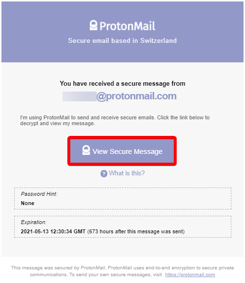 Viewing Secure ProtonMail Message in Outlook