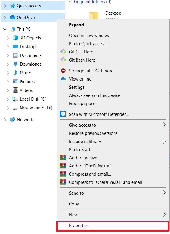 OneDrive Right Click Menu