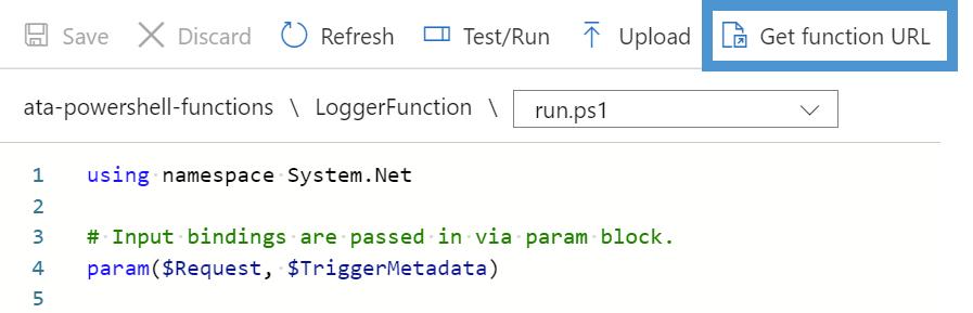 Retrieving the function URL