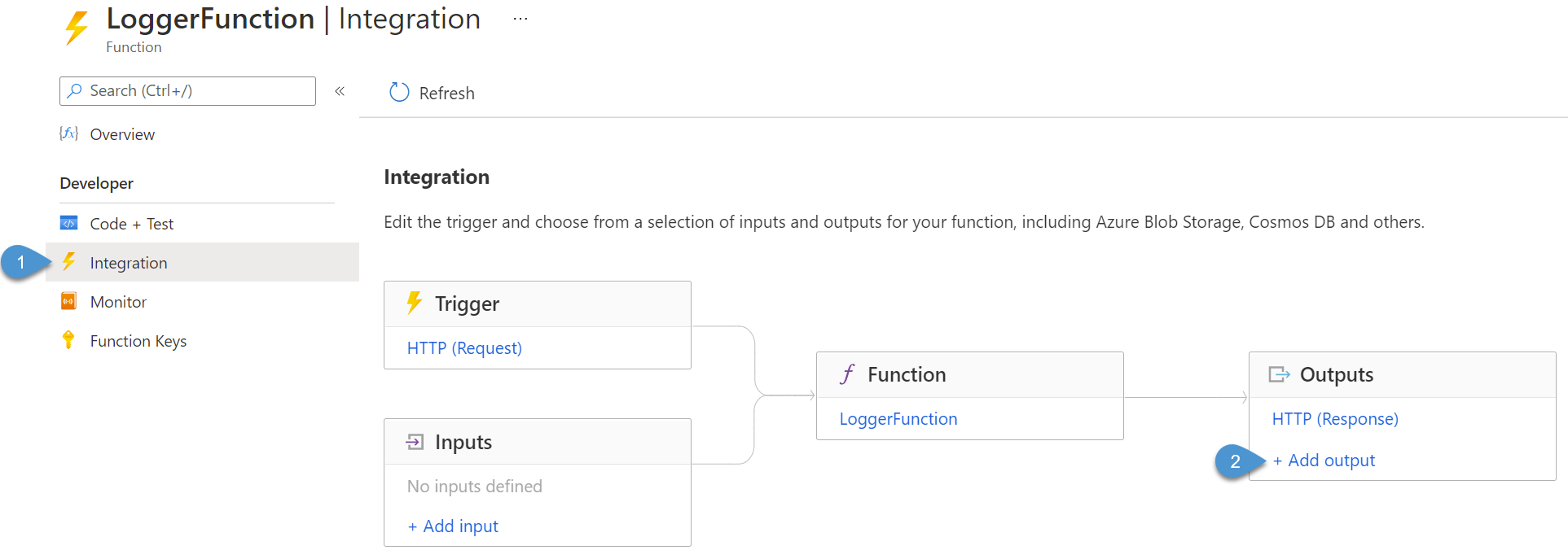 Viewing and adding function integrations