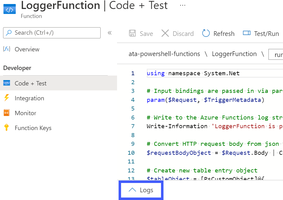 Accessing the function's Log console