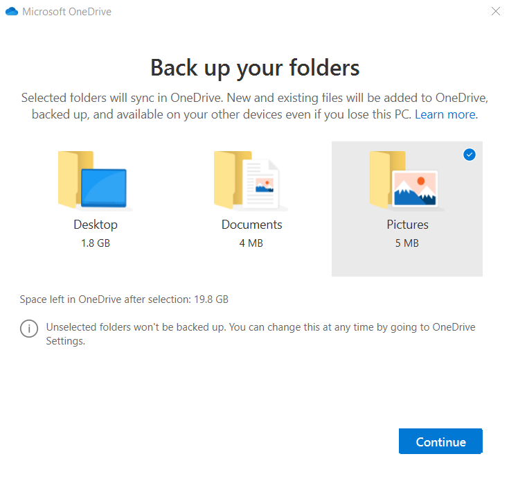 Select any folder to Backup