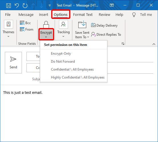 Encrypting Email in Outlook