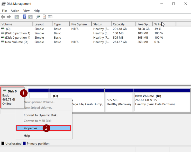 Open Disk Management to view the disk properties