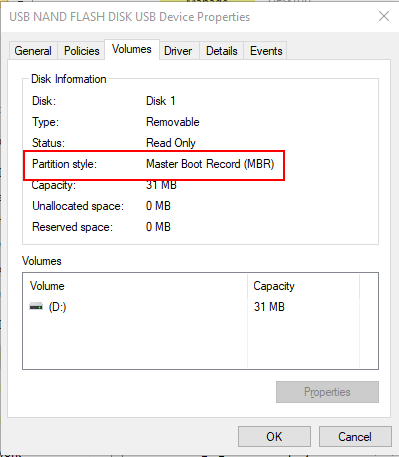 Review the Partition Style in the disk properties window