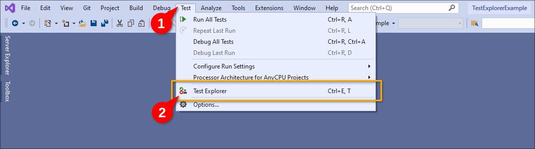 Invoking Test Explorer in Visual Studio.