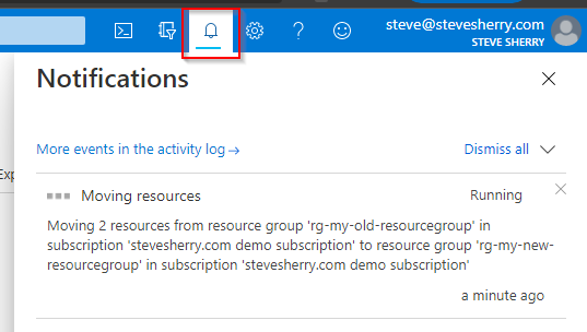 Check the notifications tab to status updates.