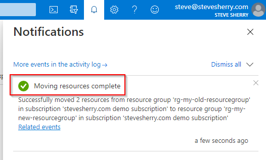 Moving resources complete status message.