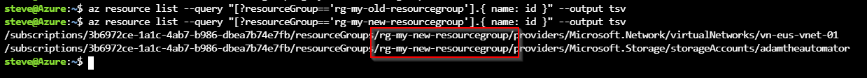 Confirming that resources have moved into a new resource group