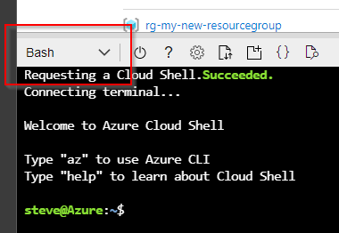 Selecting the Bash environment in Azure Cloud Shell